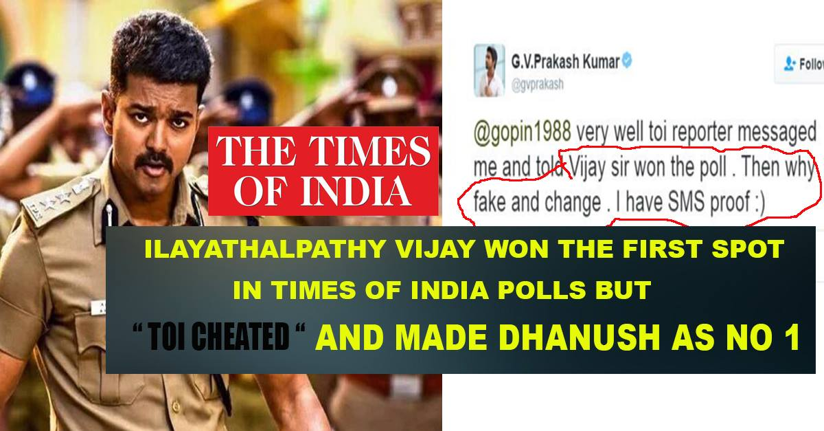 Cheap Act Times of India – Vijay won the Actual Poll