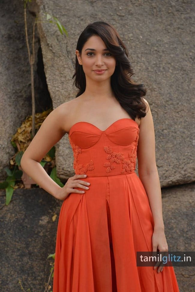 Tamanna Photos in Orange Dress – HD Images-09