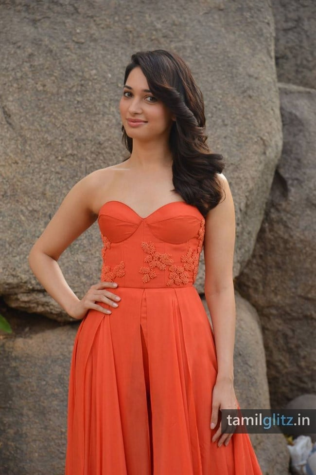 Tamanna Photos in Orange Dress – HD Images-14