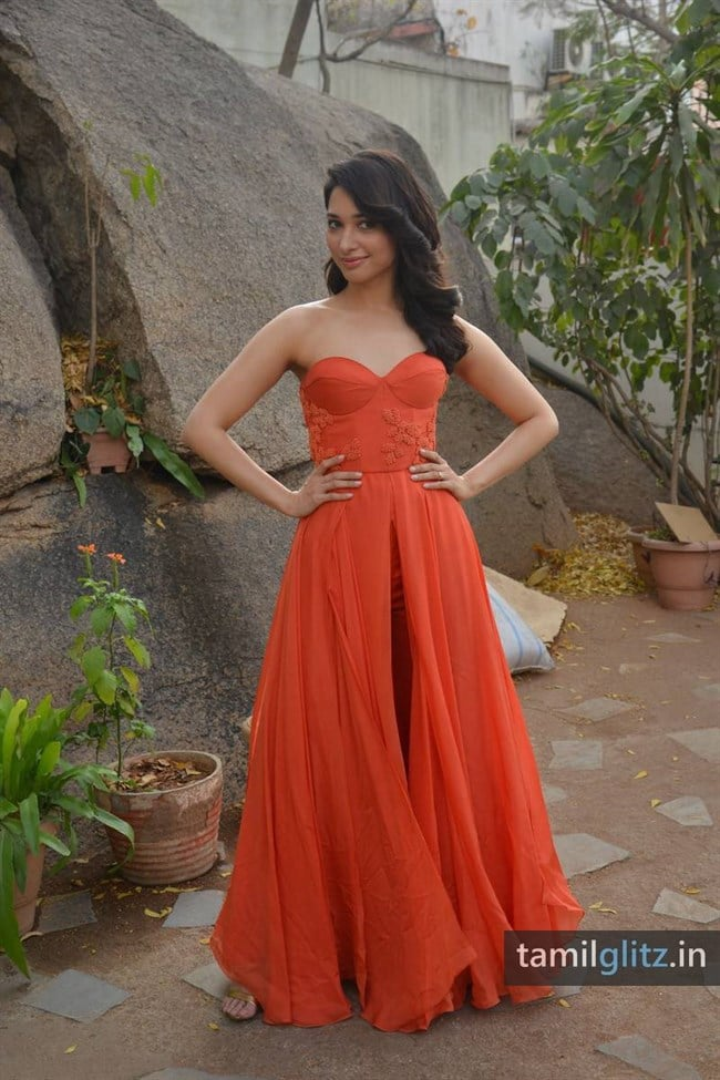 Tamanna Photos in Orange Dress – HD Images-27