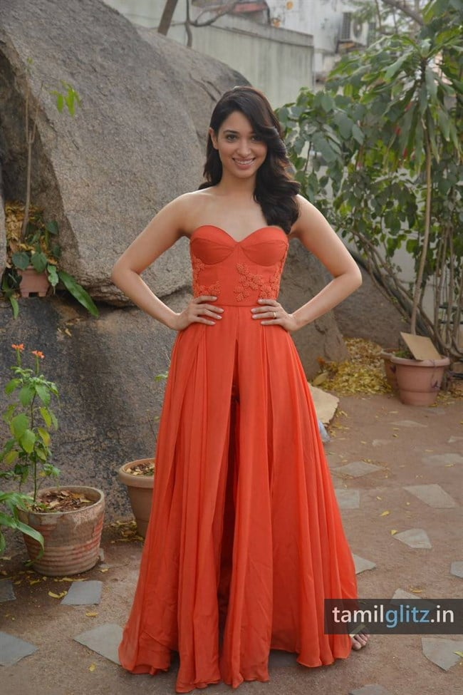 Tamanna Photos in Orange Dress – HD Images-28