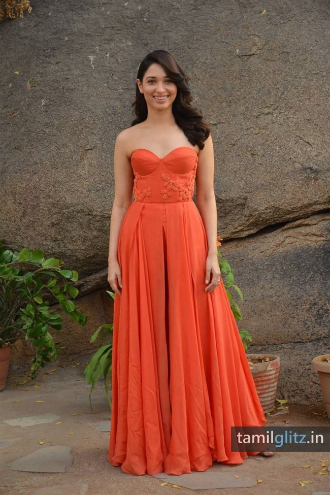 Tamanna Photos in Orange Dress – HD Images-31