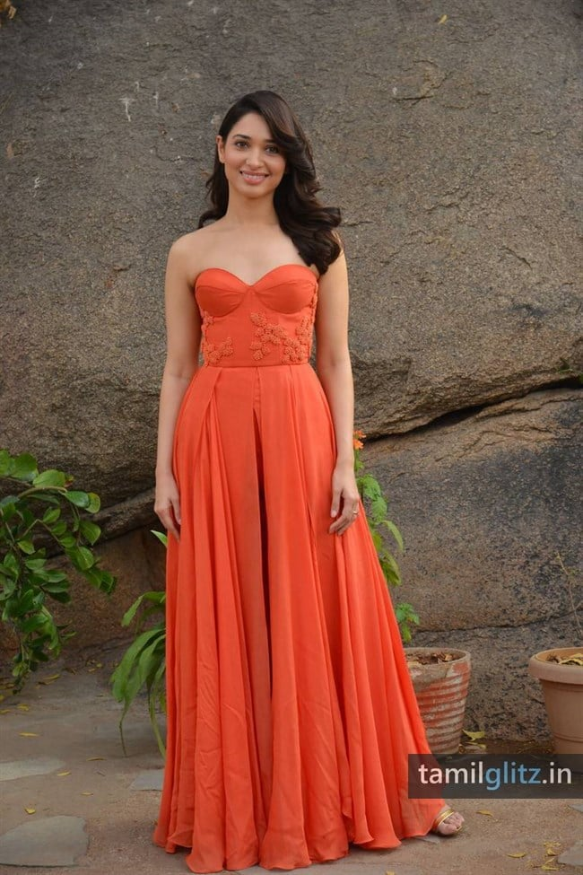 Tamanna Photos in Orange Dress – HD Images-32