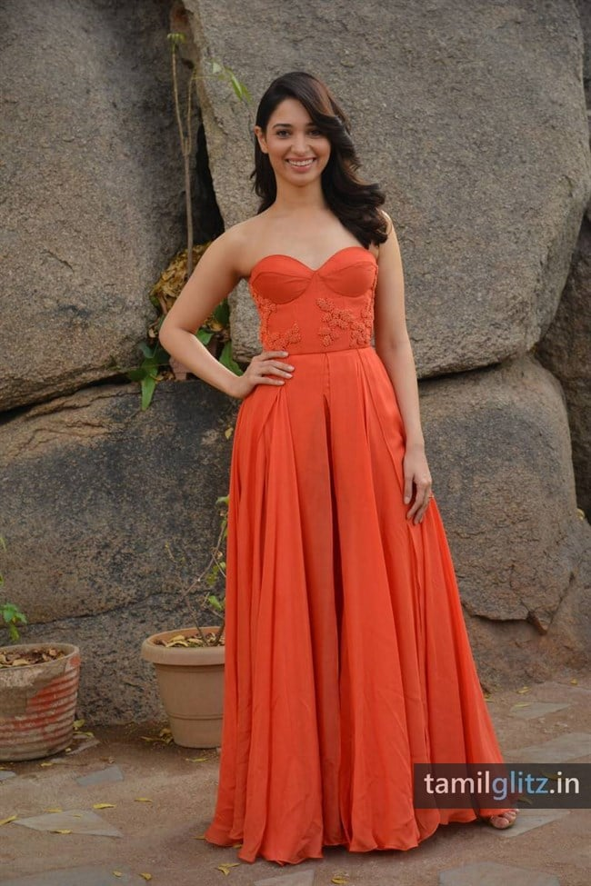 Tamanna Photos in Orange Dress – HD Images-35
