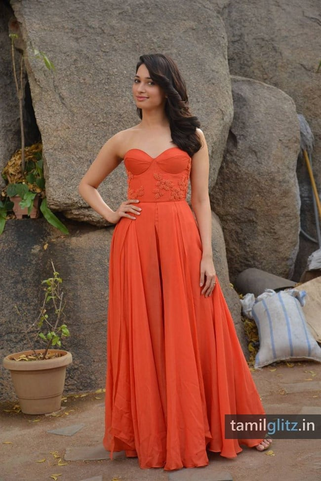 Tamanna Photos in Orange Dress – HD Images-36