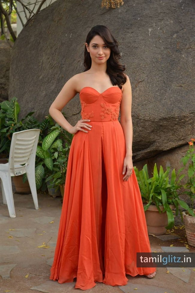 Tamanna Photos in Orange Dress – HD Images-39