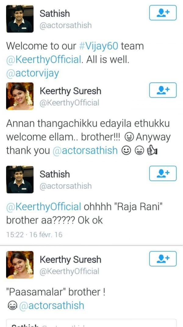 keerthy suresh and sathish twitter
