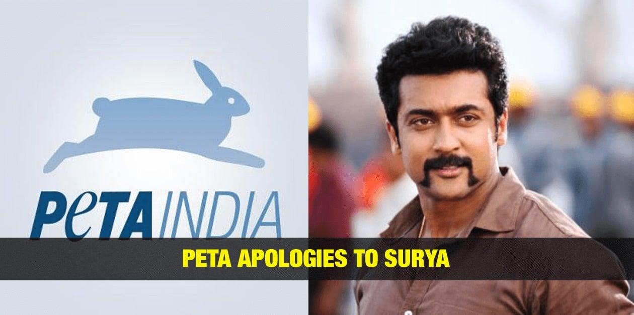 PETA apologies to Surya 3