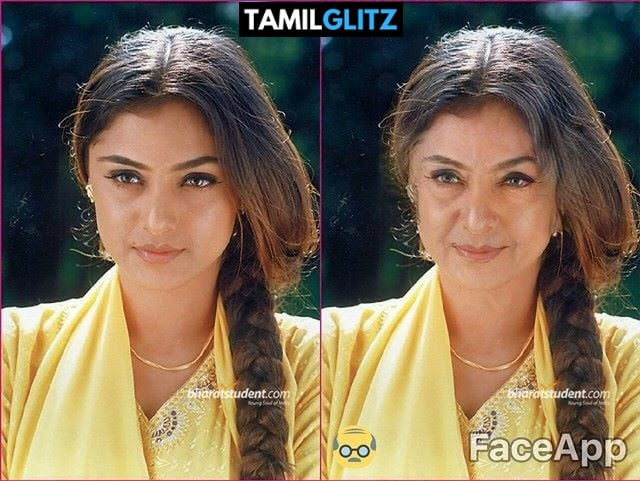 Top 10 Tamil Actress as Grandma - Faceapp Edit 24