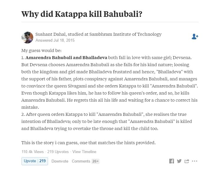 OMG! This Guy Predicted Why Kattappa Killed Baahubali in 2015 Itself ! 2