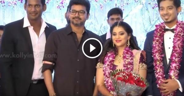 Vijay & Rajinikanth At Vishal's sister Wedding Reception 1