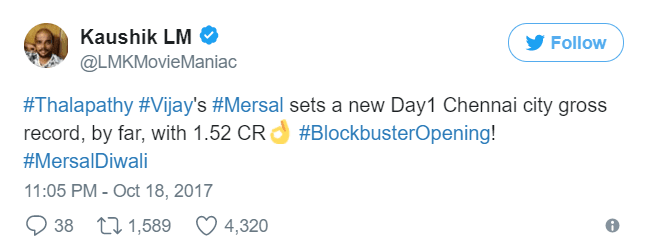 Mersal Box Office Collection | Day 1 Worldwide Collections [Updated] 8