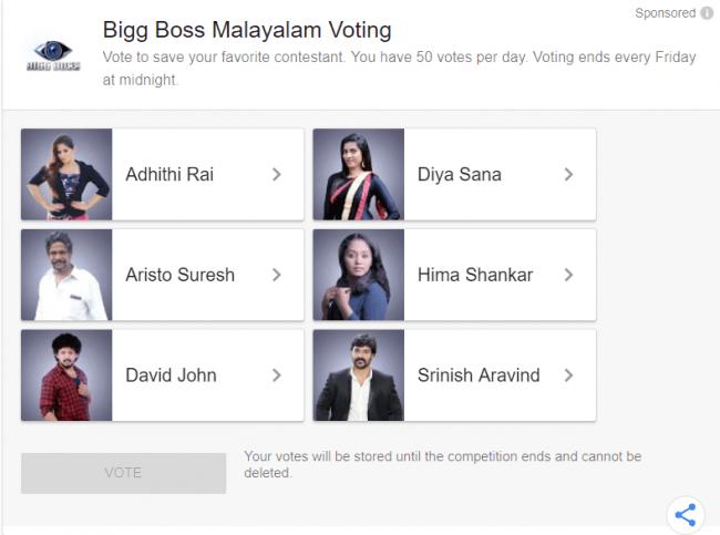 bigg boss vote malayalam