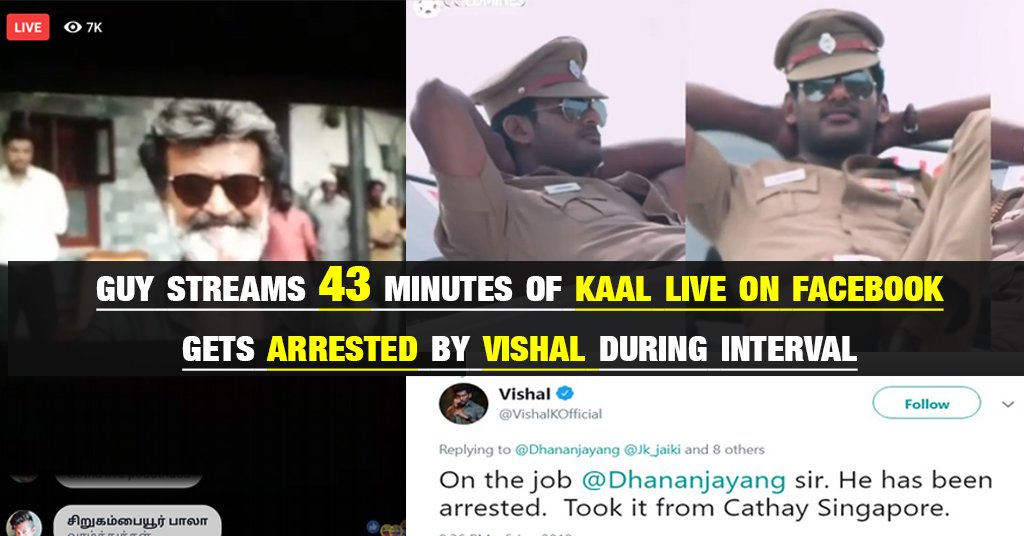 43 Minutes of Kaala Streamed Live online | Gets arrested 1
