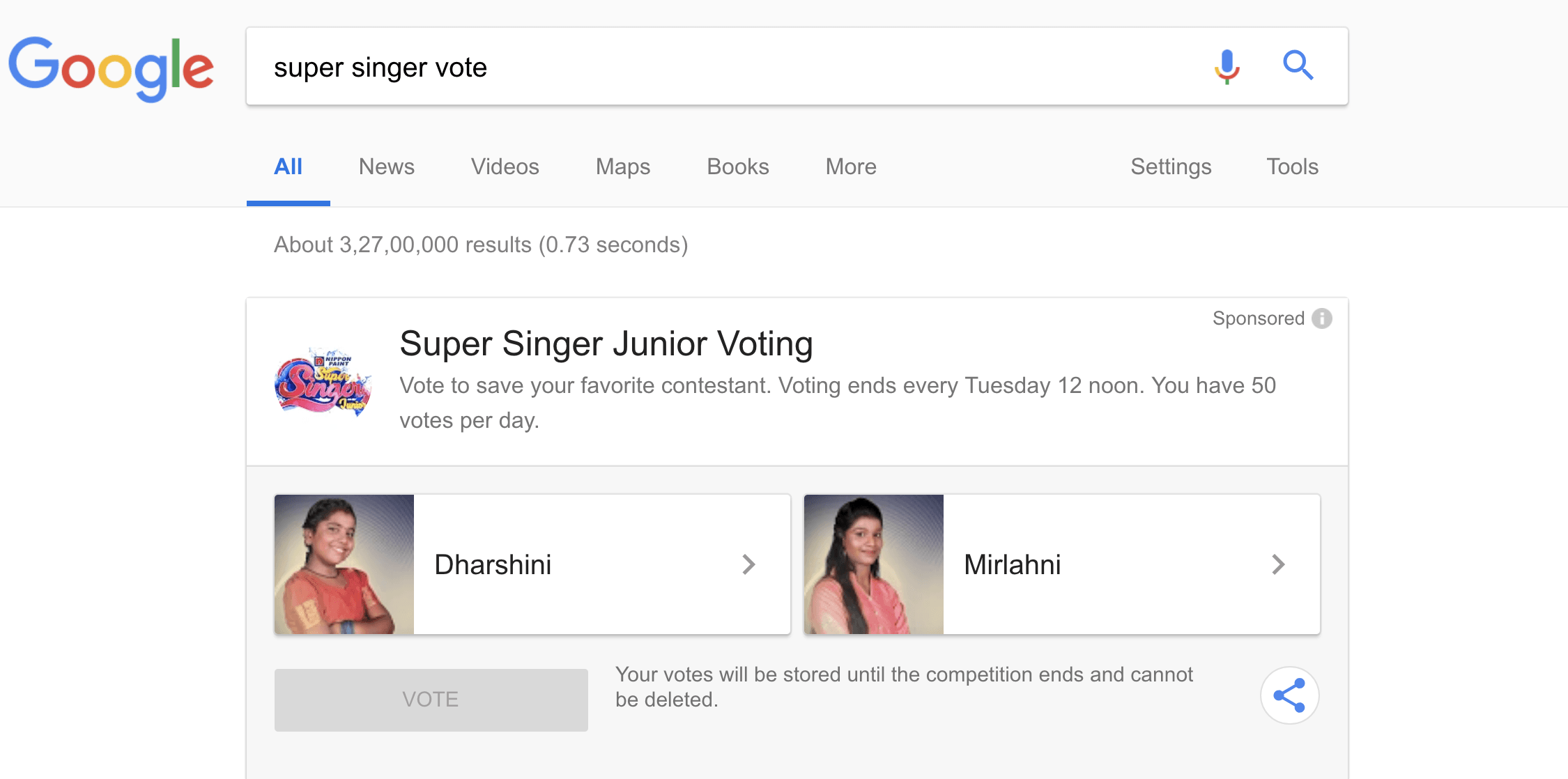 Super Singer Vote