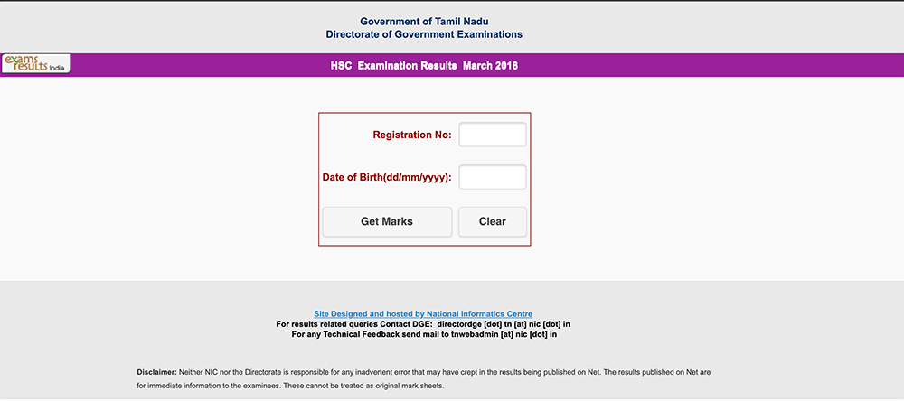 tnresults.nic.in 12th result 2019