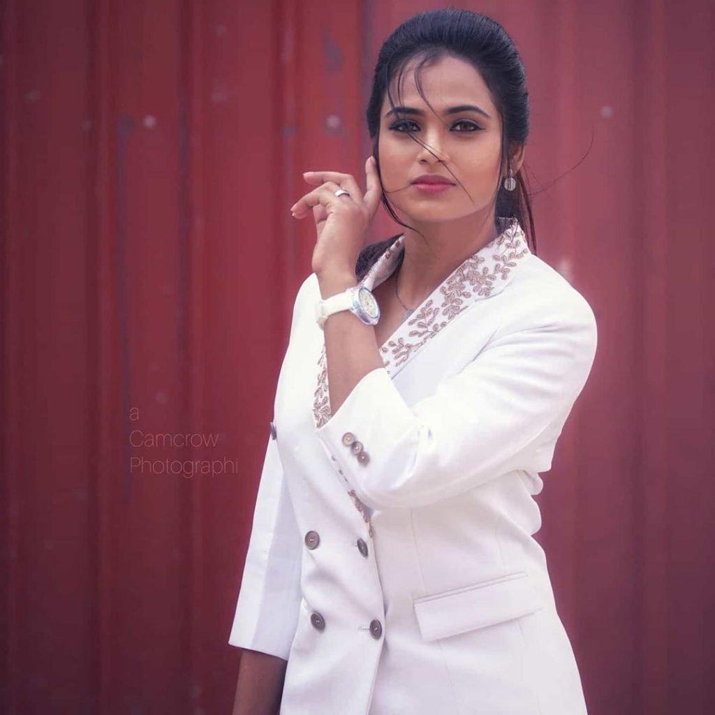 Ramya Pandiyan in White Dress