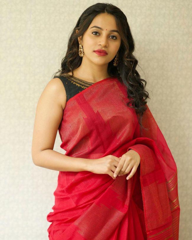 Bhavani Sre in Red Saree