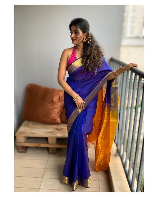 Shilpa Manjunath Blue Saree